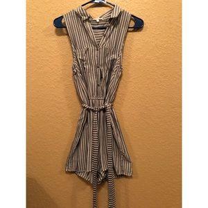 Grey Stripe Button-Down Romper